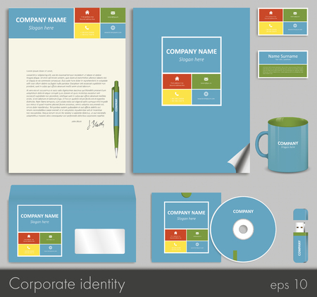 flash memory: Business style (corporate identity) template: blank, card, pen, cd, note-paper, envelope, flash memory