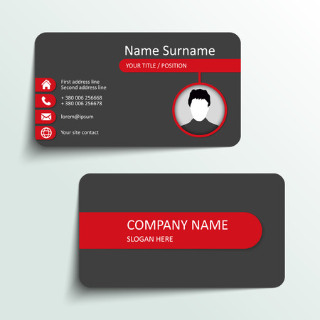 red and yellow card: Modern simple business card vector template. Illustration