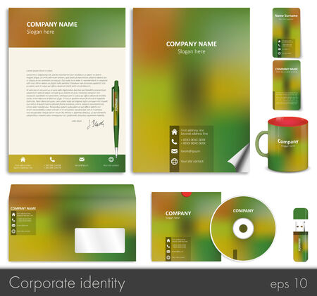 flash memory: Business style (corporate identity) template 7: blank, card, pen, cd, note-paper, envelope, flash memory