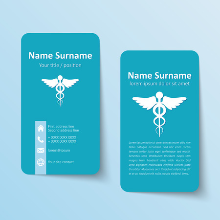 medical box: Modern simple business card vector template. Illustration
