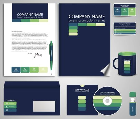 flash memory: Abstract dark blue business style (corporate identity) template 7: blank, card, pen, cd, note-paper, envelope, flash memory