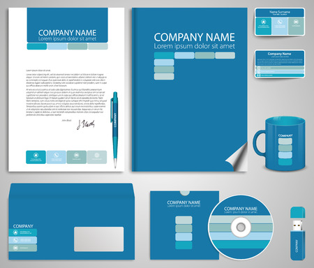 flash memory: Abstract blue  business style (corporate identity) template 7: blank, card, pen, cd, note-paper, envelope, flash memory