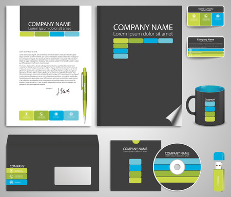 flash memory: Abstract gray business style (corporate identity) template 7: blank, card, pen, cd, note-paper, envelope, flash memory
