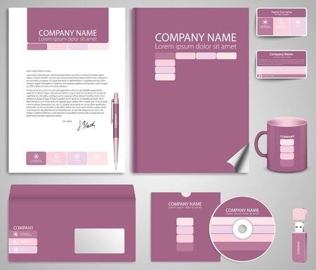 flash memory: Abstract pink business style (corporate identity) template 7: blank, card, pen, cd, note-paper, envelope, flash memory