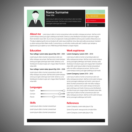 Colored flat resume and cv template. Vector Illustration.