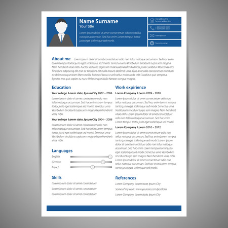 resume: Green flat resume and cv template. Vector Illustration.