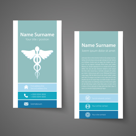 Modern simple business card template for physicians. Vector format. Vettoriali