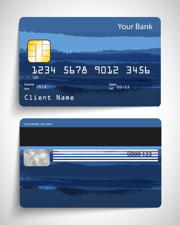 Modern blue abstract realistic vector credit card. Vettoriali