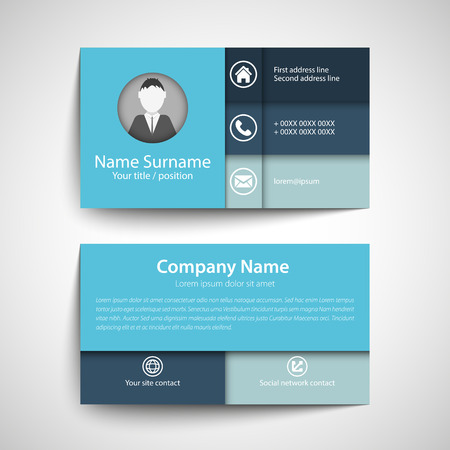 visiting card: Modern simple business card set, template or visiting card. Vector illustration. Illustration