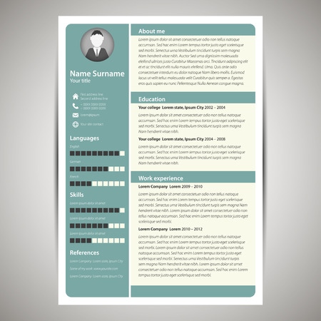 job icon: Blue flat resume and cv template. Vector Illustration. Illustration