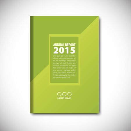 business book: Abstract vector template layout for brochure, flyer, booklet, cover. Green color version.