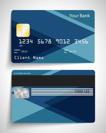 blue card: Modern blue abstract realistic vector credit card. Illustration