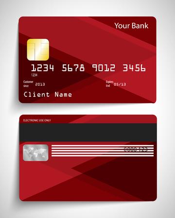 credit card: Abstracto realista tarjeta de crédito vector rojo moderno.