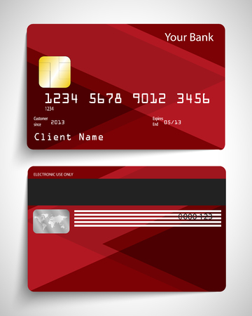 Modern red abstract realistic vector credit card.