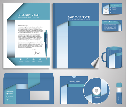 sample environment: Business style (corporate identity) template 7: blank, card, pen, cd, note-paper, envelope, flash memory.