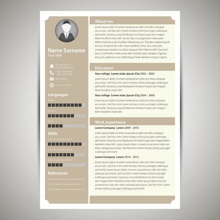 photo icon: Brown flat resume and cv template. Vector Illustration.