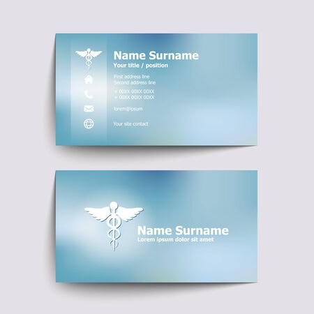 a physician: Modern simple business card set for doctor of medicine. Vector illustration.