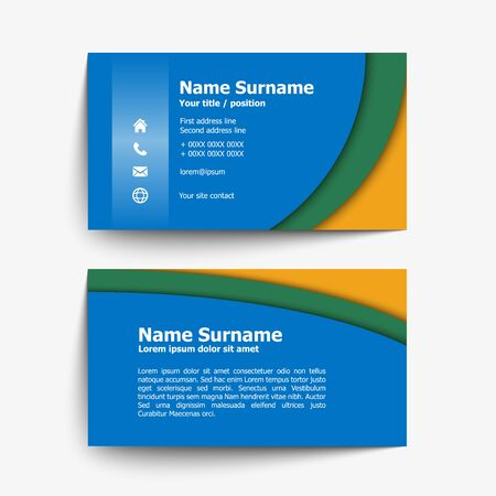 yellow card: Modern simple business card set, template or visiting card. Vector illustration. Illustration