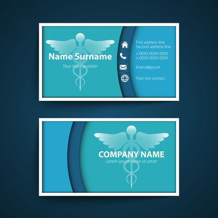 Modern simple business card set for physician. Vector illustration.