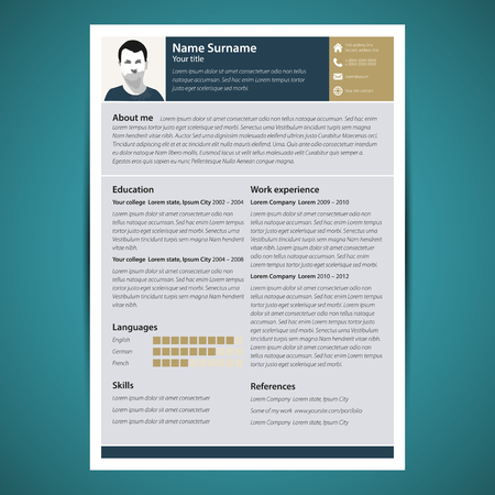 web template: Resume and cv template. Flat style vector illustration.