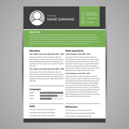 Resume template flat style illustration.