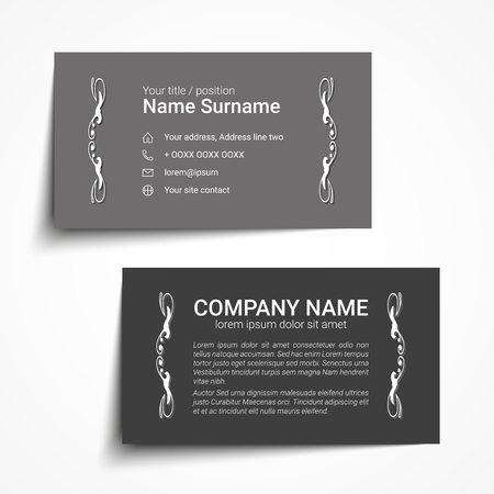 Modern simple business card set, template or visiting card vector illustration.
