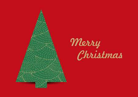 Simple vector christmas card template with tree 矢量图像