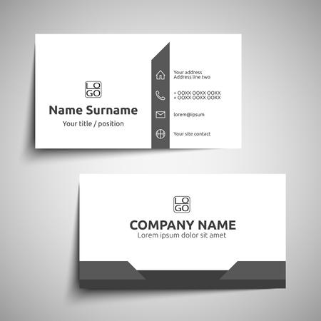 Modern simple business card set, template or visiting card. Vector illustration. Illustration