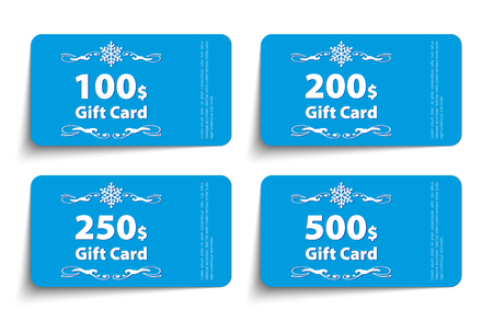 Set of gift cards templates. Face value 100, 200, 250 and 500 dollars. Vector illustration.