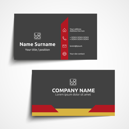 Modern simple business card set, template or visiting card. Vector illustration. 矢量图像