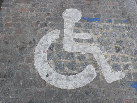 Parking for Disabled persons sign, in the street Stock Photo