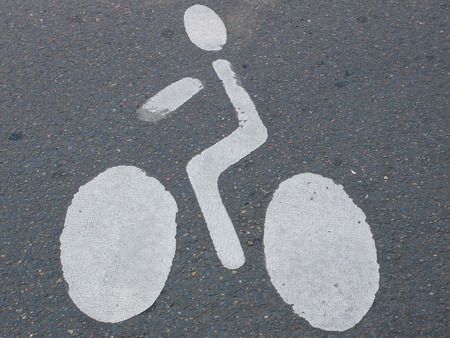 cyclist icon sign, on the road