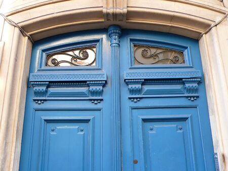 moulding: door with moulding in Paris, France Stock Photo