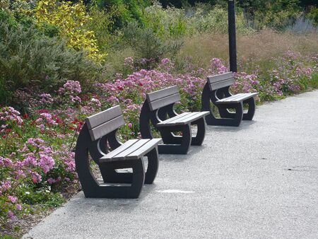 bench in a park, France