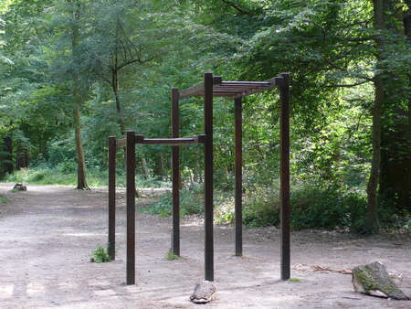 bars from fitness trail in Saint germain forest, Paris, France