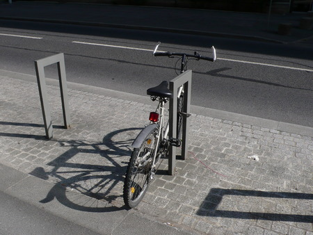 bicycle parking in the street, in Paris, France