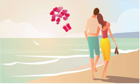 couple loving each other on beach  イラスト・ベクター素材