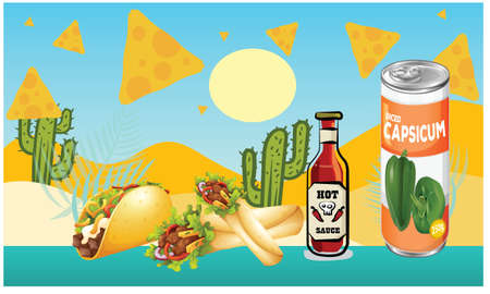 taco snacks are on beach for everyone Vectores