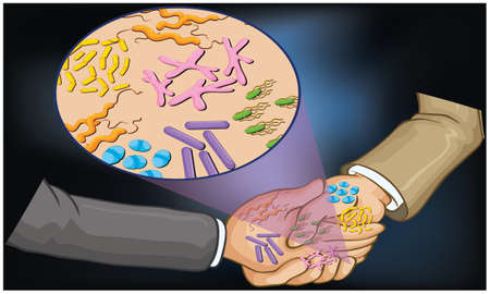 no handshake in any infection to avoid germs sharing Ilustração