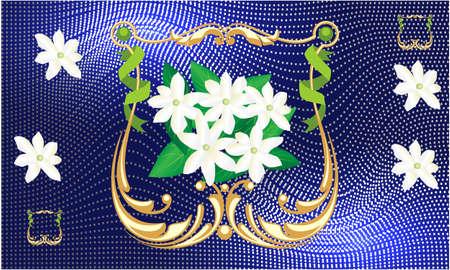 jasmine flower in golden frame on blue abstract background