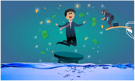 business man jumping from swimming pool to catch money