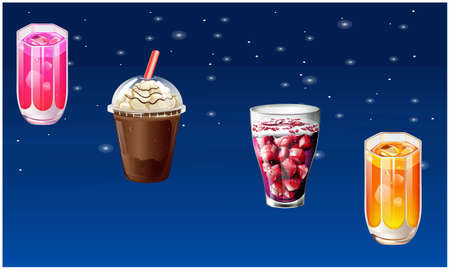 different types of drinks on abstract stars background
