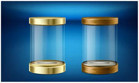 empty jars on abstract dark background