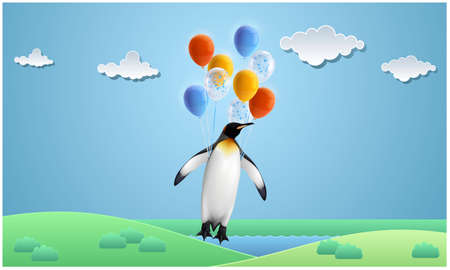 penguin is flying with balloons in garden
