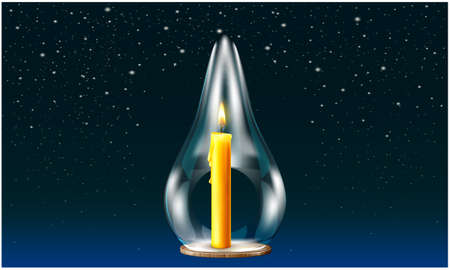 burning candle in the glass on abstract dark background Иллюстрация