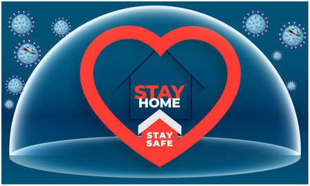 stay home, stay safe protection of hearts from all different virus Imagens