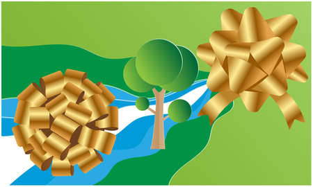 art of two gold flowers on abstract green background 向量圖像
