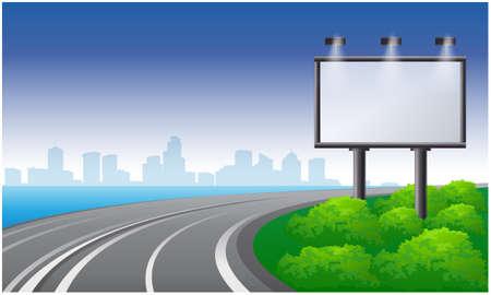 mock up illustration of bill board on road side view Reklamní fotografie