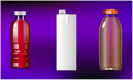 mock up illustration of different pack of juice on abstract background