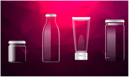mock up illustration of different glass pack on abstract background